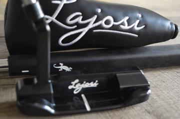 A NEW HAND MILLED KARI LAJOSI GOLF PUTTER IN CARBON BLACK FINISH - PLUMBER NECK  .